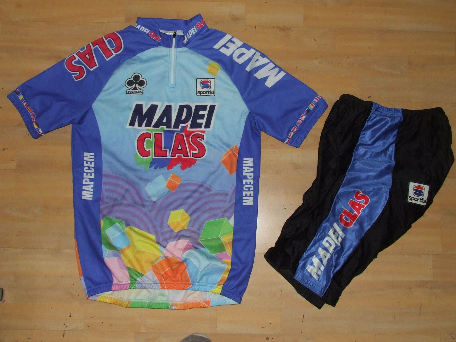 MAGLIA + PANTS BICI CICLISMO SHIRT MAILLOT CYCLISM TEAM MAPEI SPORTFUL tg. XL