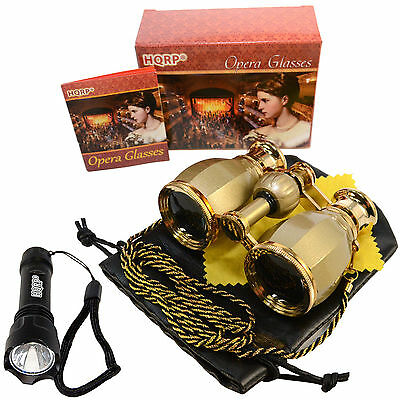 HQRP Opera Theater Binocular 4X25 Optics Glasses w/ Chain + Compact Flashligh