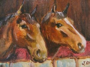 "M.JANE DOYLE SIGNED ORIGINAL ART OIL/CANVAS PAINTING ""STABLEMATES"" (HORSES) FR."