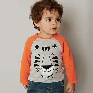 Enfant-Bebe-Garcons-Lion-Imprime-Decontracte-T-shirt-Coton-Manches-Longues