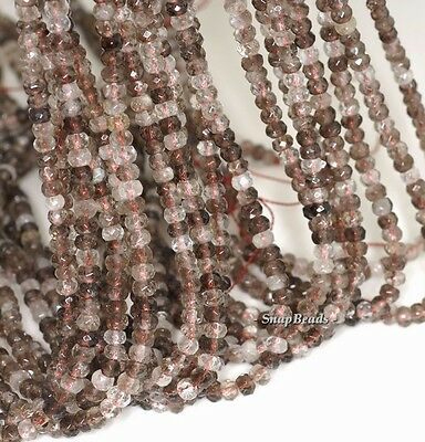 4x3mm Multi Clear Smoky Quartz Gemstone Faceted Rondelle Loose Beads 7.5 inch Half Strand 90142357-341