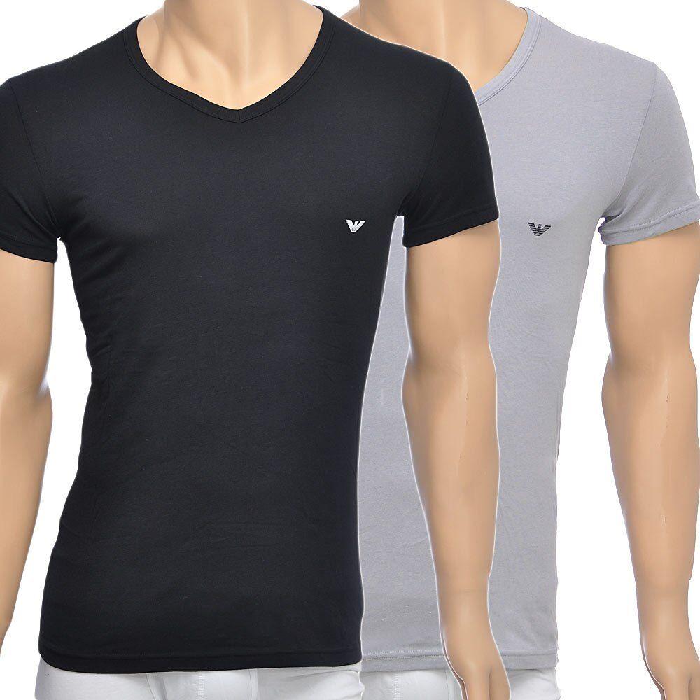 EMPORIO ARMANI underwear uomo 2-PACK COTONE STRETCH V-Neck T-shirt, Nero Grigio