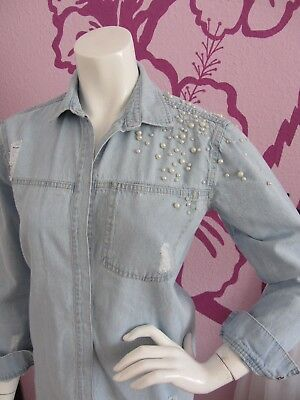 ** Tolle Reserved Jeans Bluse Blau Damen Gr.36 Neuw **