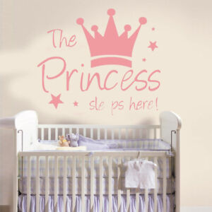 Details About Princess Crown Wall Sticker The Sleeps Here Decal Mural Kids Room Decor