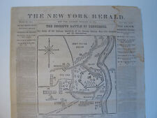 1862 'FORT DONELSON' TENNESSEE CIVIL WAR BATTLE MAP NY HERALD SLAVER GORDON