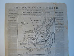 1862 \'FORT DONELSON\' TENNESSEE CIVIL WAR BATTLE MAP NY HERALD SLAVER ...