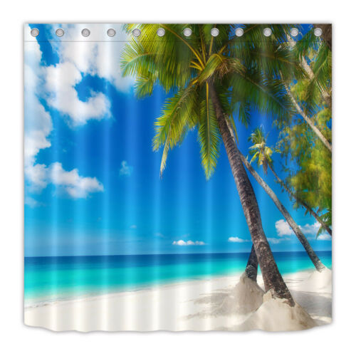 Palm Tree and White Sand Beach Fabric Shower Curtain Set Bathroom Curtains 180CM