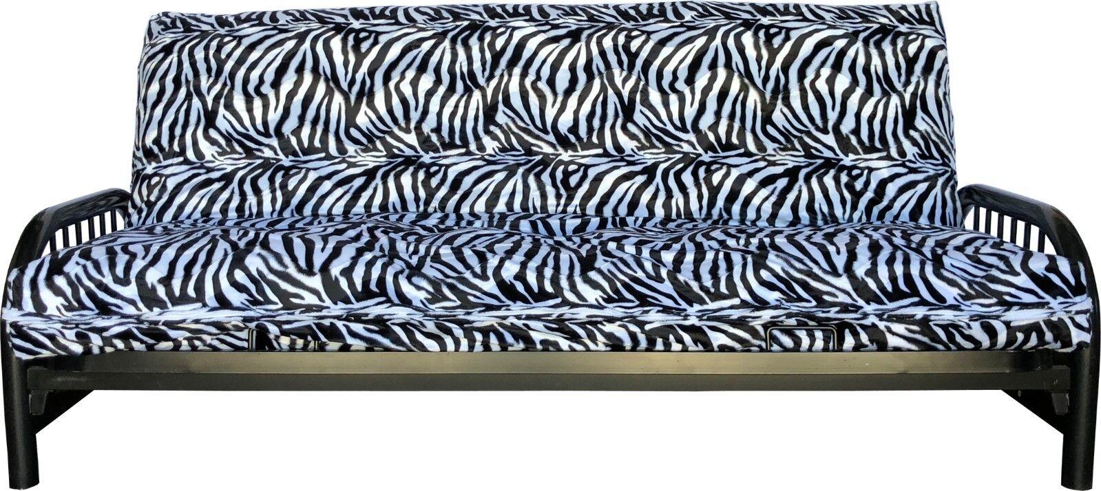 Zebra Skin Velvet Queen Size Futon