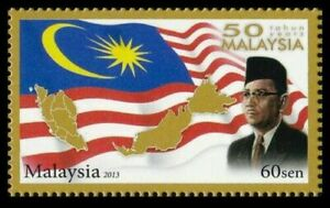 SJ-50-Years-Malaysia-2013-Prime-Minister-Tunku-Abd-Rahman-Flag-stamp-MNH