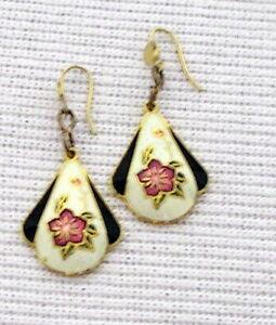 CLOISONNE-Vintage-Fashion-Jewelry-FLOWER-EARRINGS-dangle-gold-tone