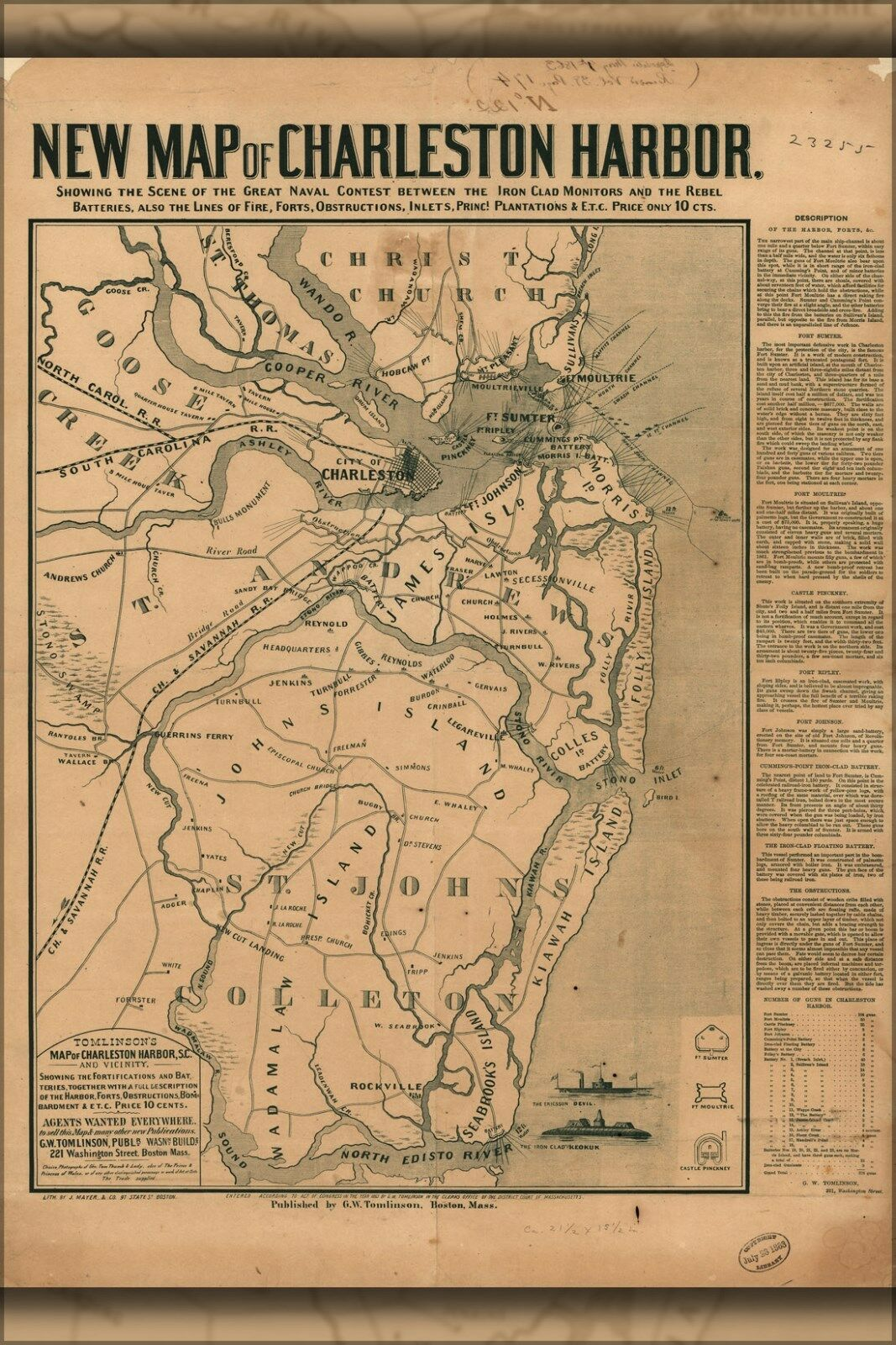 Poster, Poster, Poster, Molte Misure; Mappa Del Charleston Harbor & Ironclads 532a55