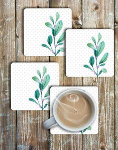 Watercolour-Leaves-Coaster-Set-of-4-Non-Slip-Neoprene-Drink-Coasters