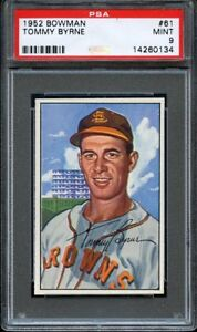 1952-Bowman-TOMMY-BYRNE-61-St-Louis-Browns-PSA-9-LOW-POP-HIGHEST-GRADED