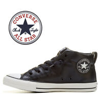 Mens Converse Chuck Taylor All Star Street Mid Fashion Sneaker BLACK Leather NEW