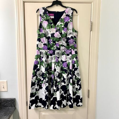 Talbots Purple Floral Oprah Magazine Dress Sz 16