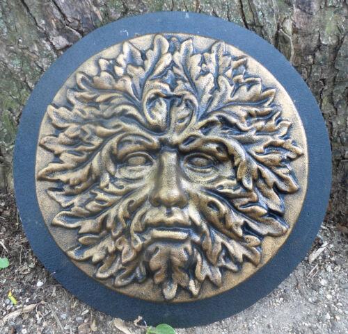 Greenman face mold plaster concrete casting garden plaque plastic mould