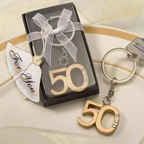 144 oro 50th Anniversary Or 50th Birthday Key Chain Boxed Party Favors