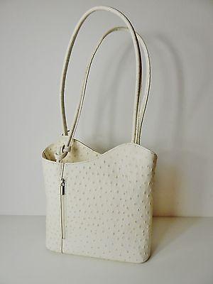Handtasche Damen Beige Echt Leder Rucksack Designer Tasche 2in1