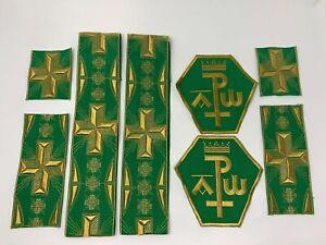 A-amp-o-Px-Cruz-Vestment-Emblems-Banda-Oro-en-Verde-8-PC-Lote-Paquete