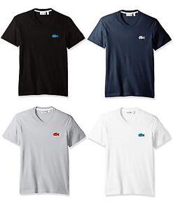New-LACOSTE-Brand-Men-039-s-Vneck-Applique-Croc-Logo-Tee-T-Shirt-all-Sizes-TH4909