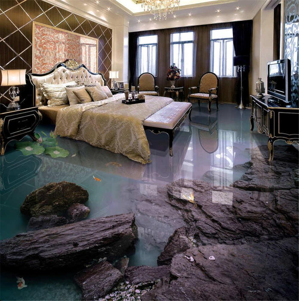 A Solitary Lotus 3D Floor Mural Photo Flooring Wallpaper Home Print Decoration