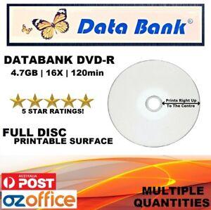 A+ Grade Data Bank DVD-R Full Inkjet Printable Blank DVD Discs Media 4.7GB 16X