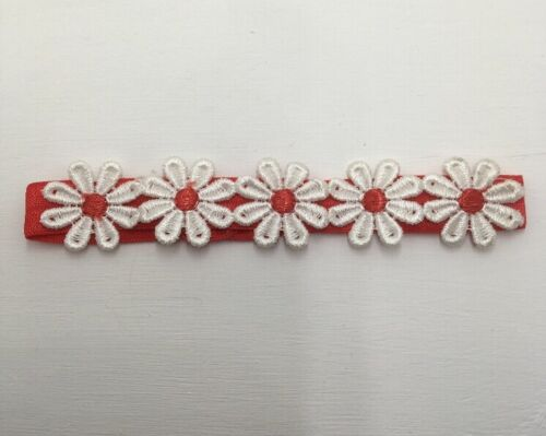 Babies red headband With 5 matching  daisies 6-12 months