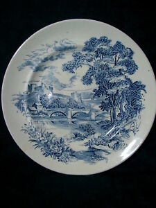 Vintage-Enoch-Wedgwood-Tunstall-Blue-White-10-034-Dinner-Plate-COUNTRYSIDE