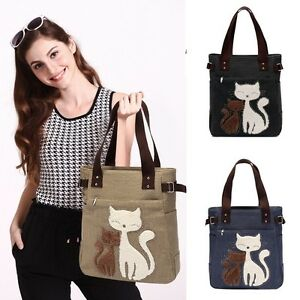 Women-Cute-Cat-Handbag-Shoulder-Bag-Tote-Canvas-Travel-Large-Hobo-Messenger-Bags