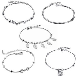 Fine Anklets Jewelry & Watches Fußkette 925 Silber 100% Original