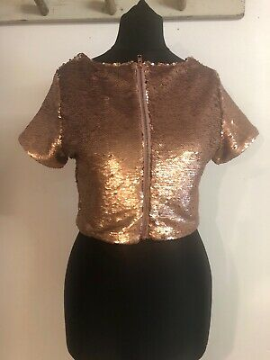 Brand New Ex Miss Selfridge Gold Sequin Velour Sparkly Short Sleeve T-Shirt Dres
