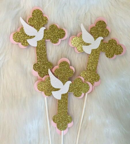 Cross  centerpieces// Pink and Gold  Cross// Baptism centerpieces stick//cross