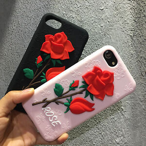 timeless design 2c55d 15761 Details about 2017 Fashion 3D Red Rose Soft Silicone Phone Case Cover For  iphone 6 7 Plus