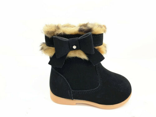 Baby Girl Boy Snow Shoes Toddler Fur Lined Winter Booties Chelsea Ankle Boots