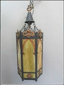 Large-Antique-Gothic-Style-Chandelier-Slag-Glass-Copper-Accents-Beautiful