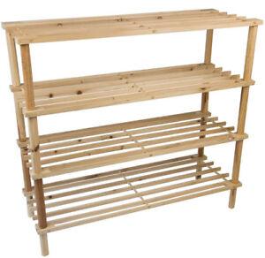 Details About 3 4 Tier Wooden Shoe Rack Storage Slatted Stand Organiser Vertical Shelf Unit