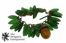 Excellent Vintage Costume Jewelry Pine Cone Bracelet Glass Leaves Acorn Charm