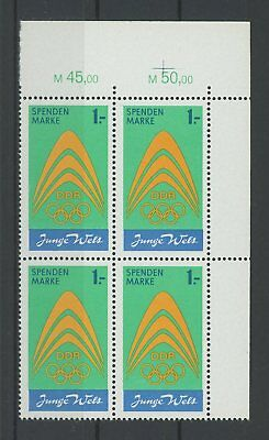 Ddr Spendenmarke Mi.nr. I Or Eckrand-4er-block O.r. ** Mi 72.- + Er M551 SchüTtelfrost Und Schmerzen