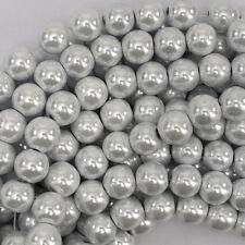 """10mm white pearl magnetic hematite round beads 16"""" strand"""