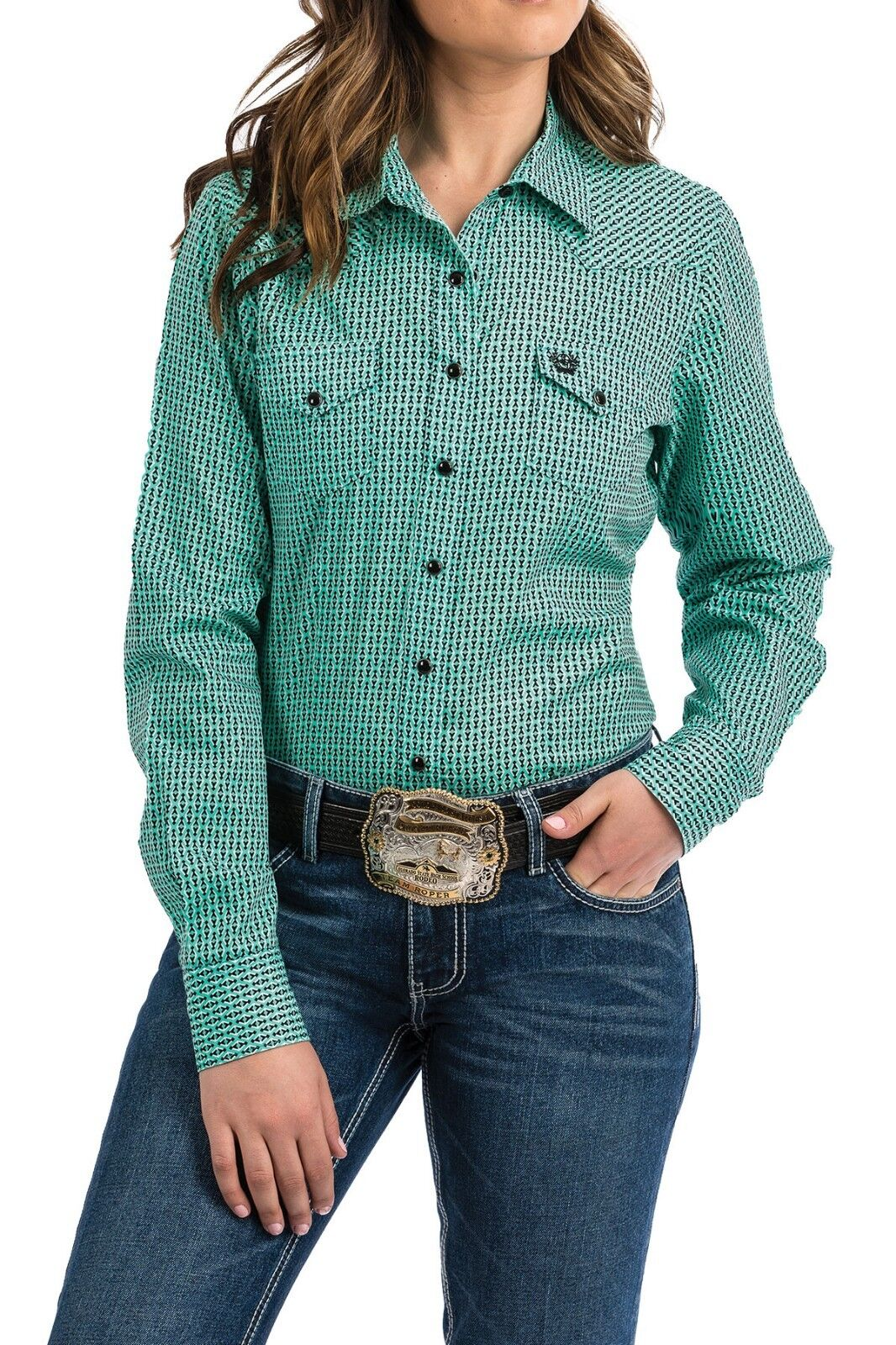Cinch Woherren Turquoise Printed Snap Up Western Shirt MSW9200034