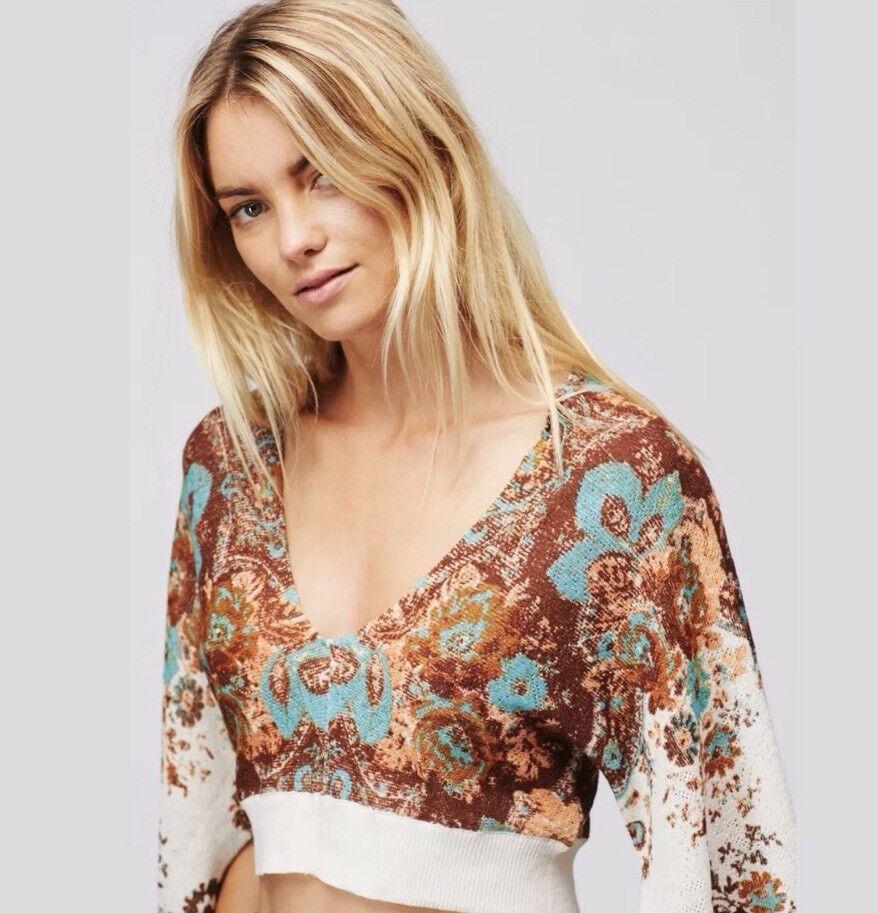 Free People Meet Me At Woodstock Printed Cropped Sweater Shirt Top Medium