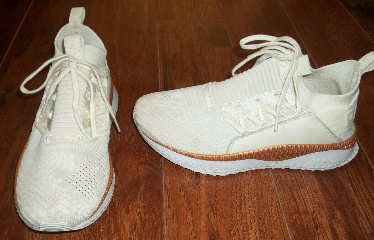 Puma evoknit Ignite Crème Or Blanc Sneaker Chaussures Taille 8.5 36703812 EUC!