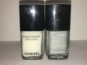 "CHANEL DUO PLATINUM ""HOLOGRAPHIC"" Nail Polish w/ FIXING BASE BNWOB ..."