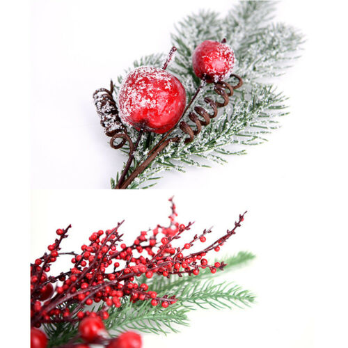 Christmas Artificial Flower Branch Red Fruit  Berry Pin Home Xmas Party Decor