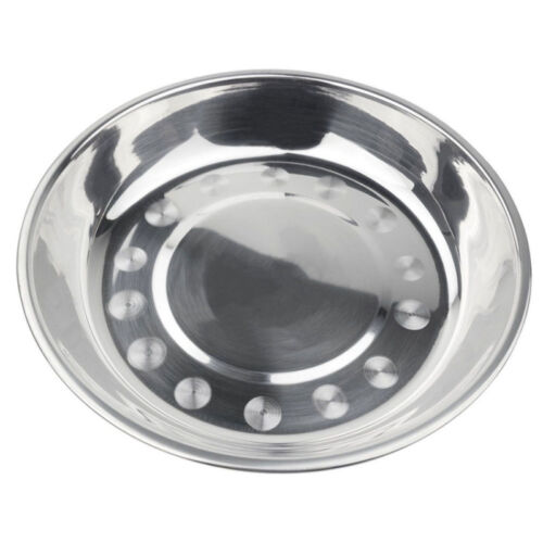 Silver Camping Stainless Steel Tableware Dinner Plate Food Container Clean