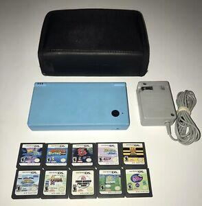 Nintendo DS DSi Light Blue Handheld System Console Bundle Lot W/ 10 Games & Case