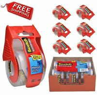 Scotch Shipping Packaging Tape Clear 6 Rolls With Dispensers Heavy Duty 3m