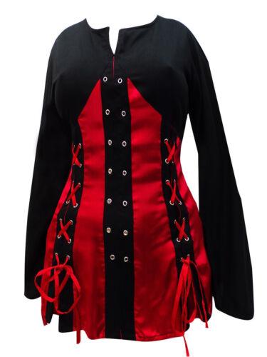 Übergröße Korsett Oberteil Top Bluse rot schwarz goth 44 46 48 50 52 54 56 58