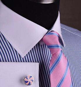 Blue-Striped-Royal-Oxford-Formal-Business-Dress-Shirt-Spread-White-Double-Cuff