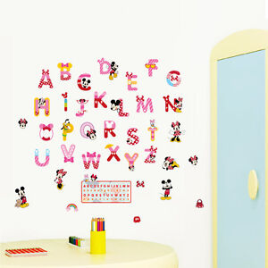 Image Is Loading Mickey Minnie Mouse Alphabets Wall Stickers Nursery Decor